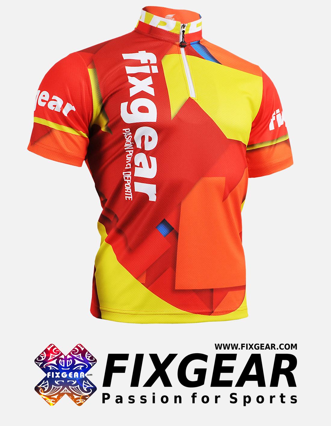 FIXGEAR BM-51R2 Casual Men's short sleeve jersey 1/4 zip-up T-Shirt