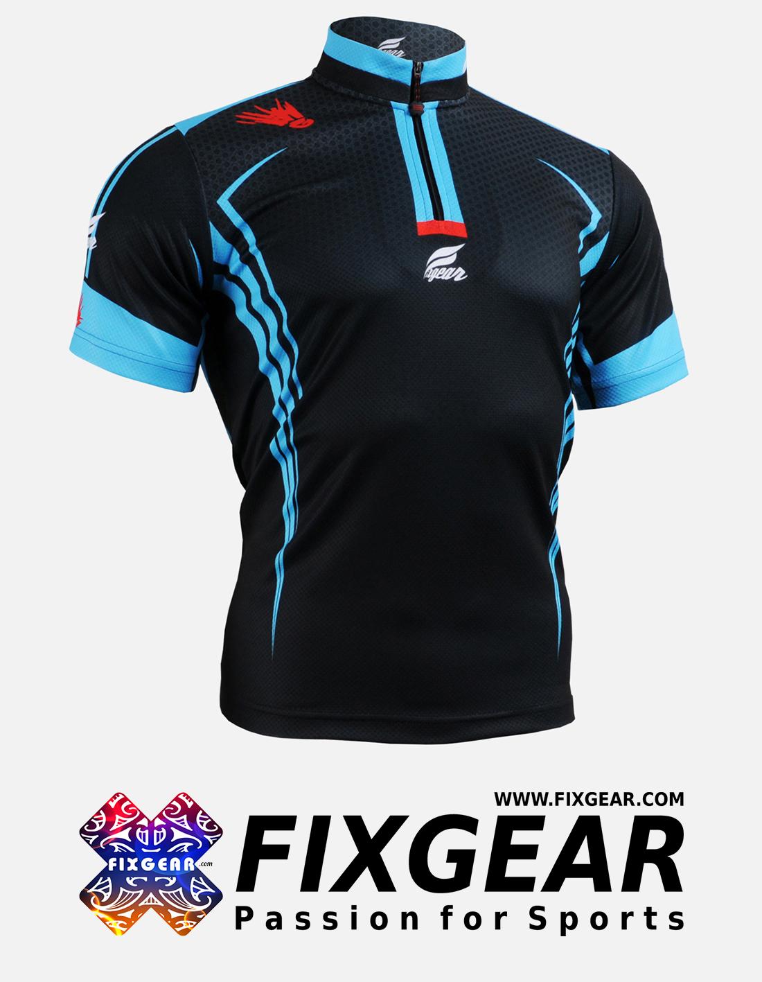 FIXGEAR BM-5602 Casual Men's short sleeve jersey 1/4 zip-up T-Shirt