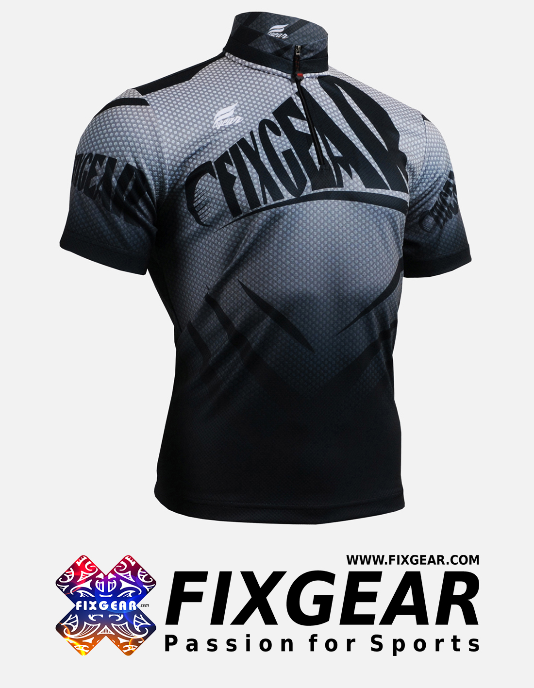 FIXGEAR BM-5702 Casual Men's short sleeve jersey 1/4 zip-up T-Shirt