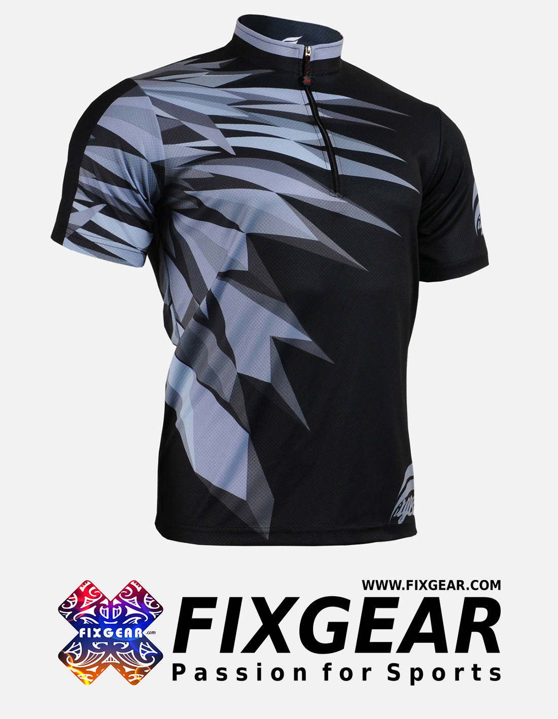 FIXGEAR BM-5902 Casual Men's short sleeve jersey 1/4 zip-up T-Shirt