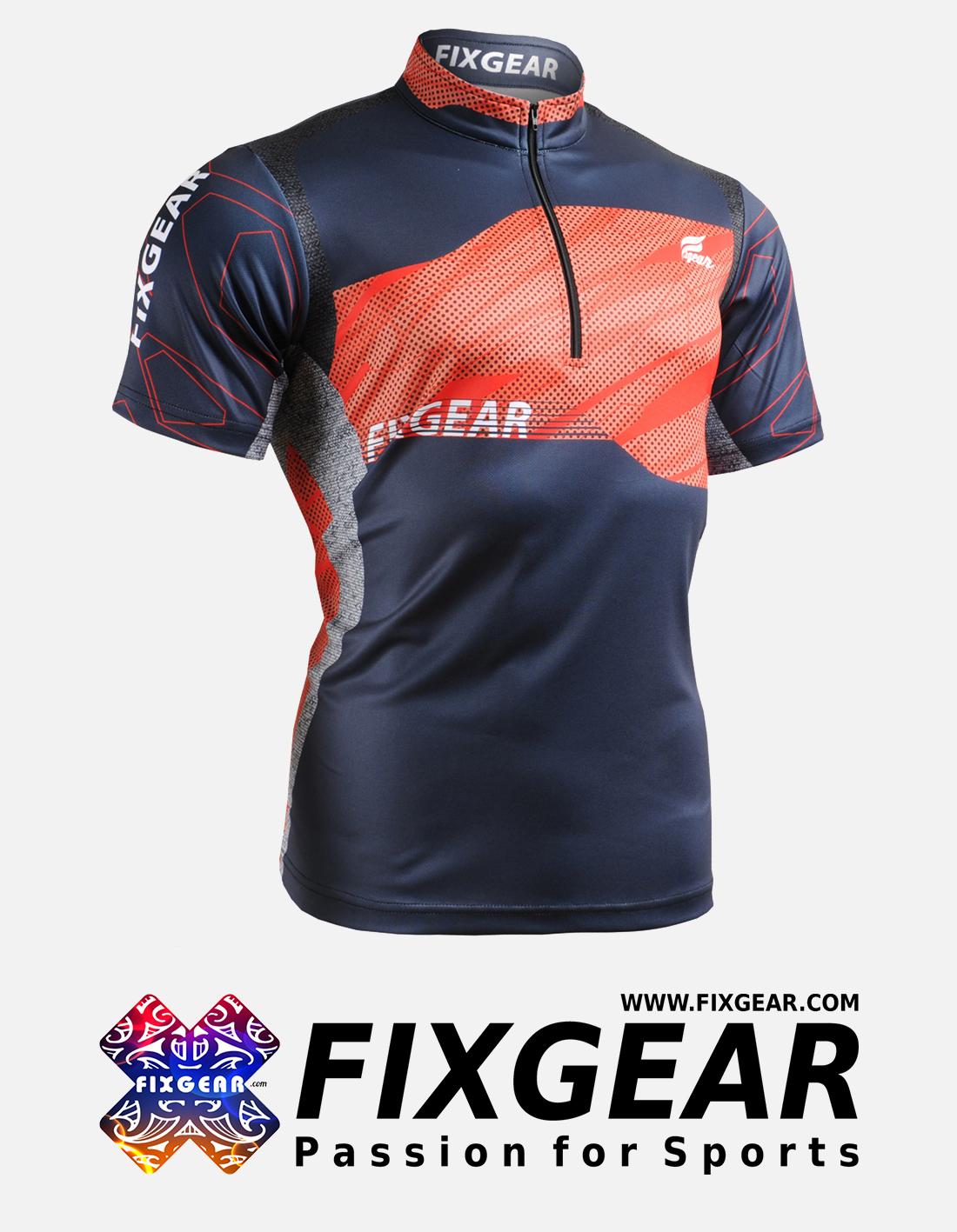 FIXGEAR BM-7502 Casual Men's short sleeve jersey 1/4 zip-up T-Shirt