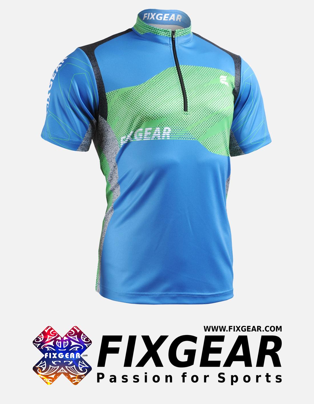 FIXGEAR BM-75B2 Casual Men's short sleeve jersey 1/4 zip-up T-Shirt