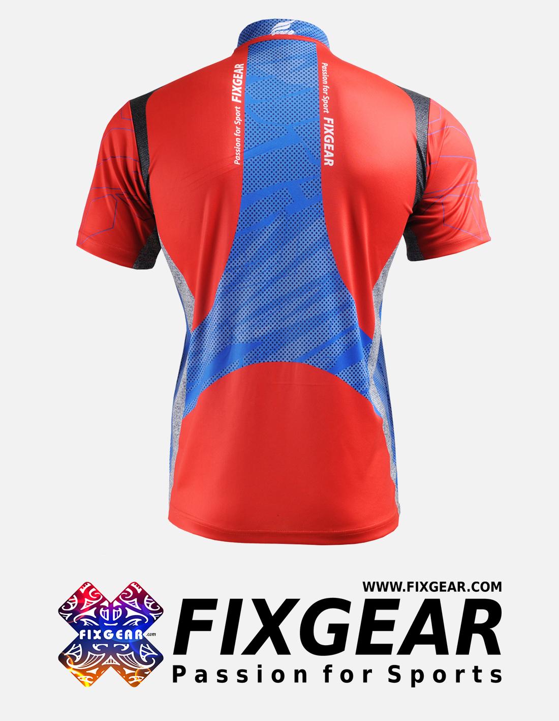 FIXGEAR BM-75R2 Casual Men's short sleeve jersey 1/4 zip-up T-Shirt