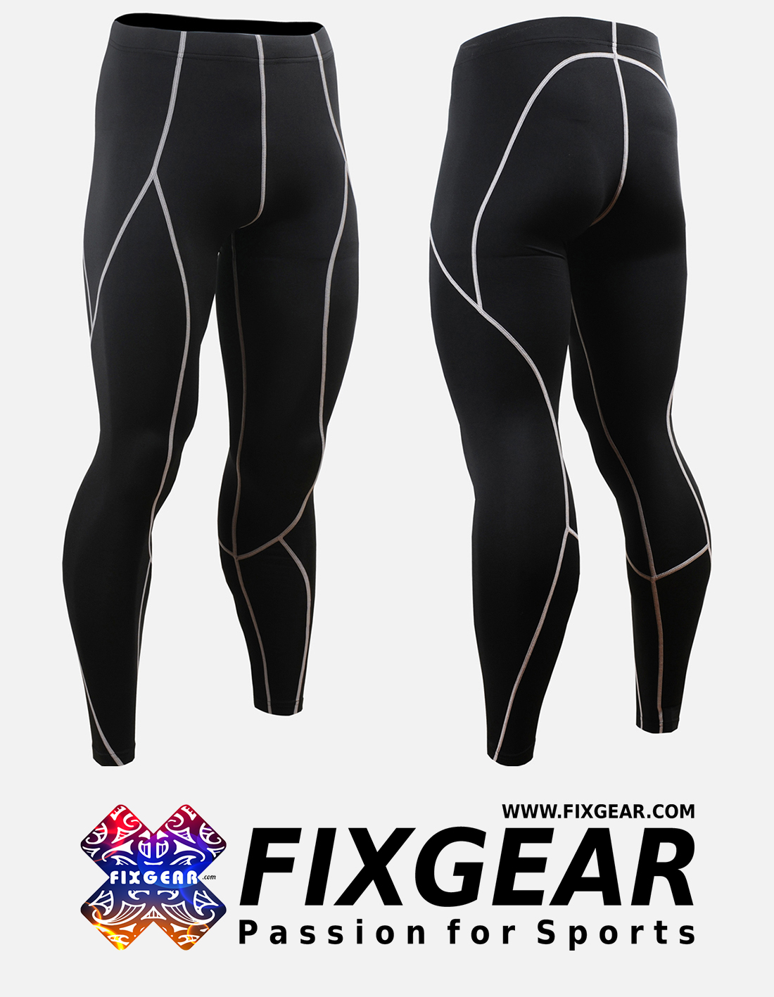 FIXGEAR Skin Tights Compression Leggings Pants P2L-B70R MMA GYM Workout Fitness