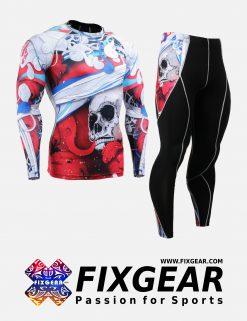 FIXGEAR CFL-P2L-B19R Set Compression Base Layer Shirt & Legging Pants