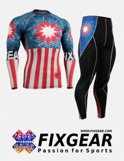 FIXGEAR CFL-P2L-B37 Set Compression Base Layer Shirt & Legging Pants