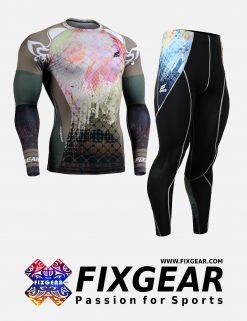 FIXGEAR CFL-P2L-B42 Set Compression Base Layer Shirt & Legging Pants