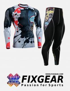 FIXGEAR CFL-P2L-B44 Set Compression Base Layer Shirt & Legging Pants
