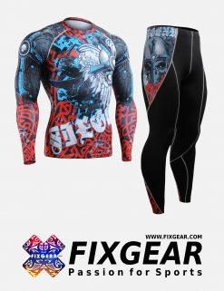 FIXGEAR CFL-P2L-B73 Set Compression Base Layer Shirt & Legging Pants