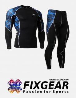 FIXGEAR C2L-P2L-B1 Set Compression Base Layer Shirt & Legging Pants