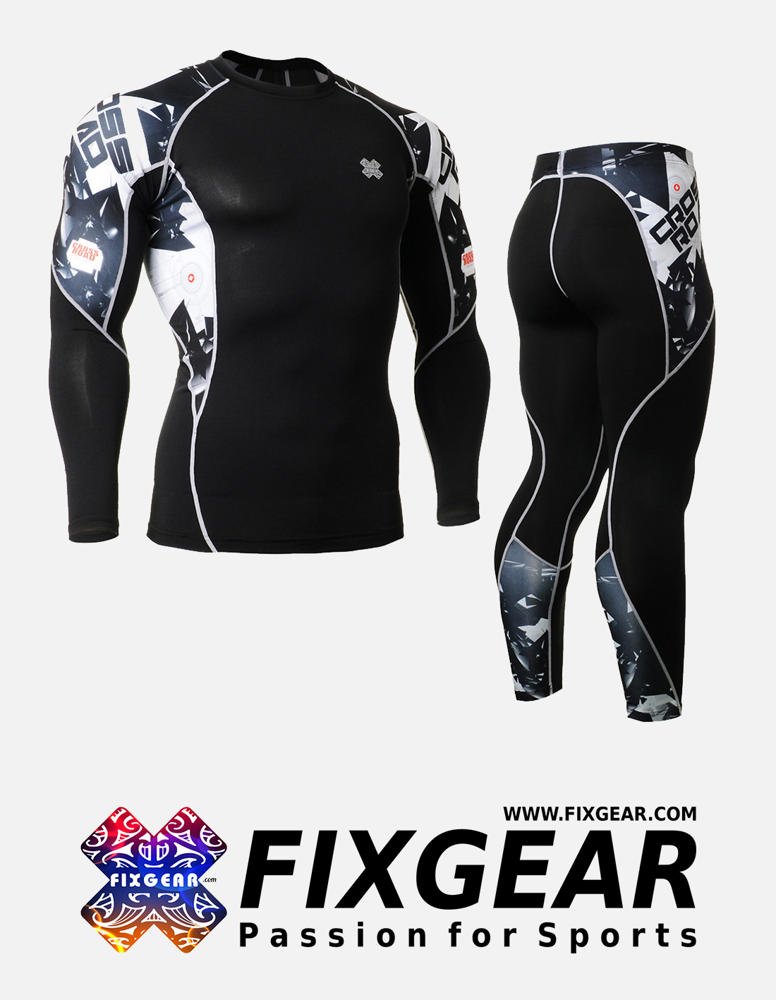FIXGEAR C2L-P2L-B17 Set Compression Base Layer Shirt & Legging Pants
