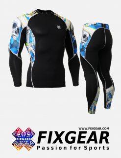 FIXGEAR C2L-P2L-B19B Set Compression Base Layer Shirt & Legging Pants