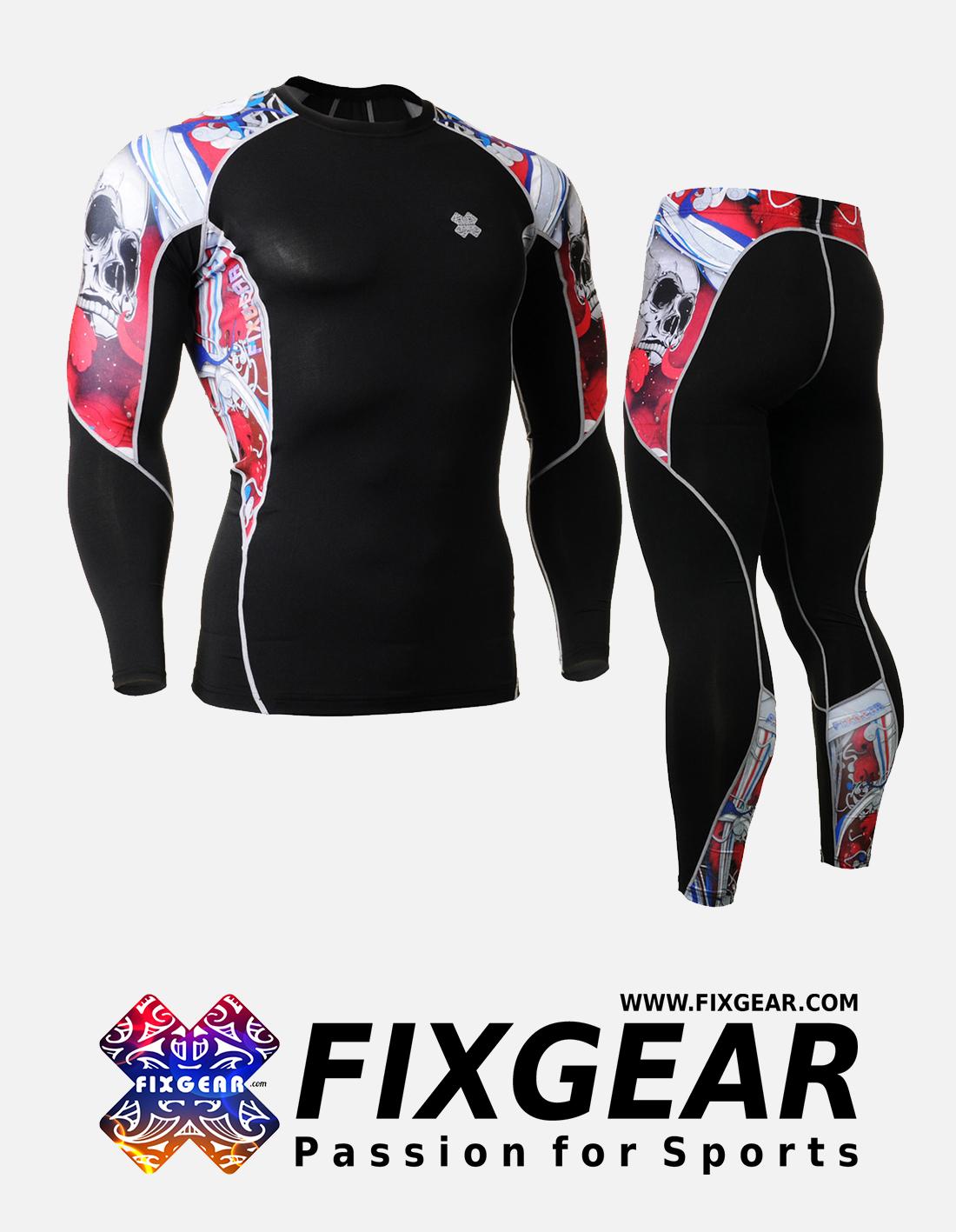 FIXGEAR C2L-P2L-B19R Set Compression Base Layer Shirt & Legging Pants
