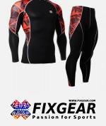 FIXGEAR C2L-P2L-B2 Set Compression Base Layer Shirt & Legging Pants