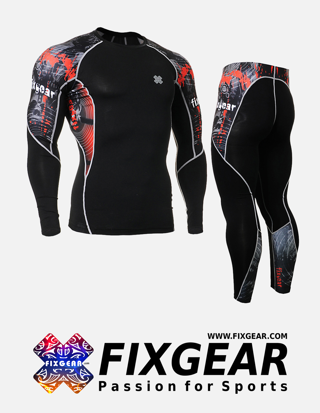 FIXGEAR C2L-P2L-B30 Set Compression Base Layer Shirt & Legging Pants