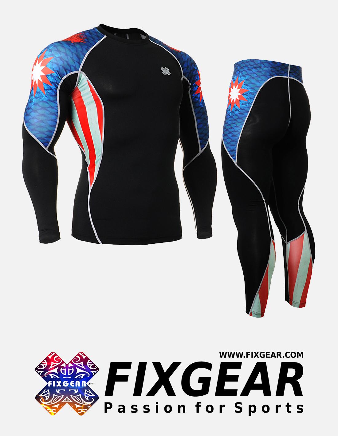 FIXGEAR C2L-P2L-B37 Set Compression Base Layer Shirt & Legging Pants