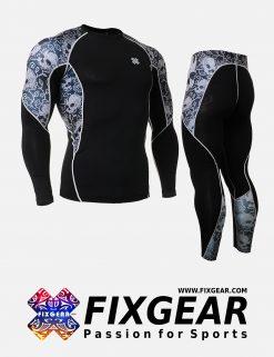FIXGEAR C2L-P2L-B40 Set Compression Base Layer Shirt & Legging Pants