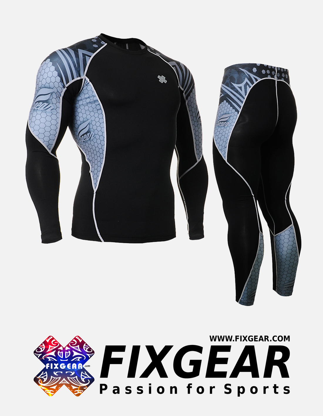 FIXGEAR C2L-P2L-B41 Set Compression Base Layer Shirt & Legging Pants