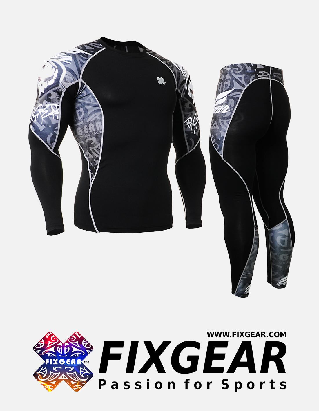 FIXGEAR C2L-P2L-B43 Set Compression Base Layer Shirt & Legging Pants