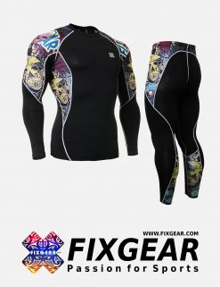 FIXGEAR C2L-P2L-B44 Set Compression Base Layer Shirt & Legging Pants