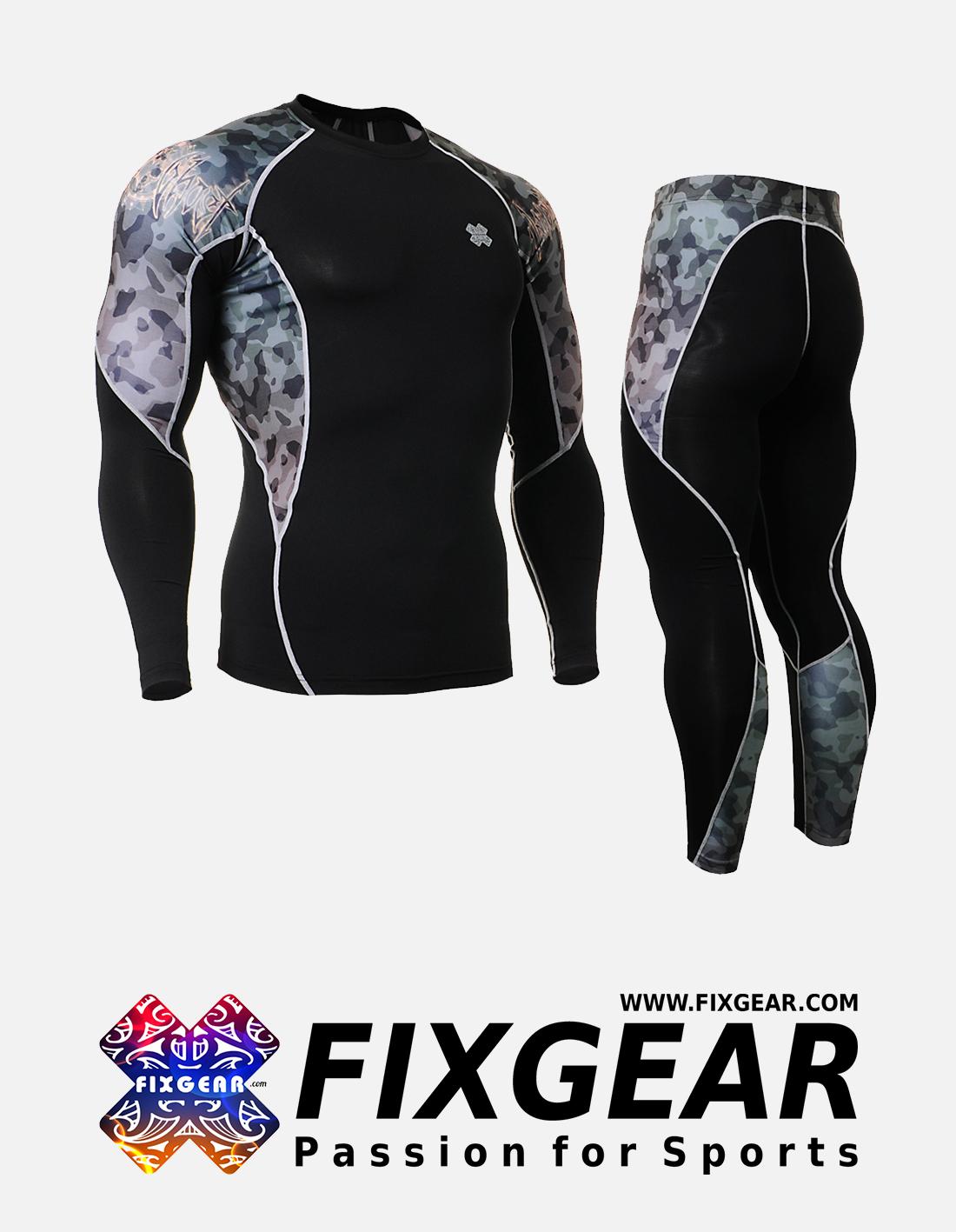 FIXGEAR C2L-P2L-B45 Set Compression Base Layer Shirt & Legging Pants