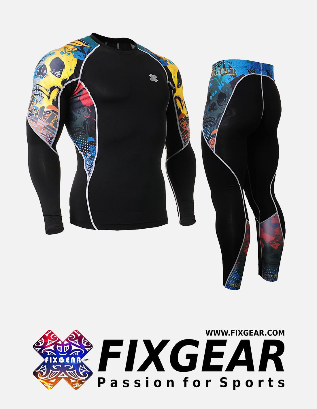 FIXGEAR C2L-P2L-B46 Set Compression Base Layer Shirt & Legging Pants