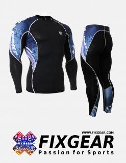 FIXGEAR C2L-P2L-B48 Set Compression Base Layer Shirt & Legging Pants