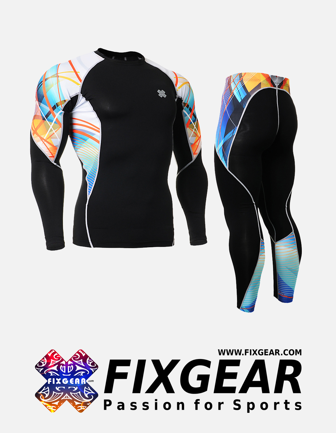 FIXGEAR C2L-P2L-B49 Set Compression Base Layer Shirt & Legging Pants
