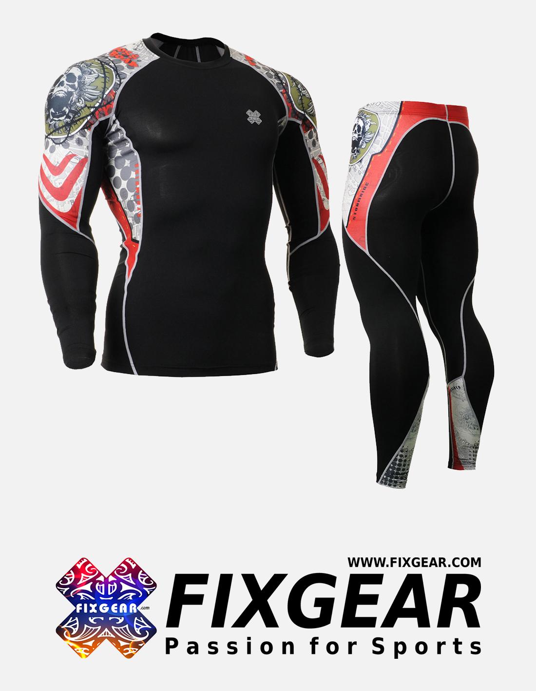 FIXGEAR C2L-P2L-B5 Set Compression Base Layer Shirt & Legging Pants