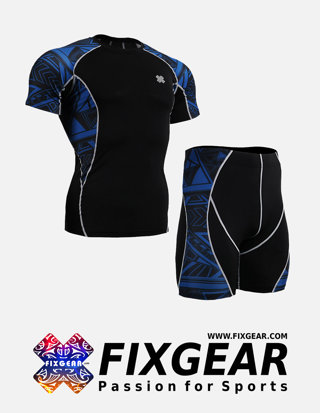 FIXGEAR C2S-P2S-B1 Set Compression Base Layer Shirt & Compression Drawer Shorts