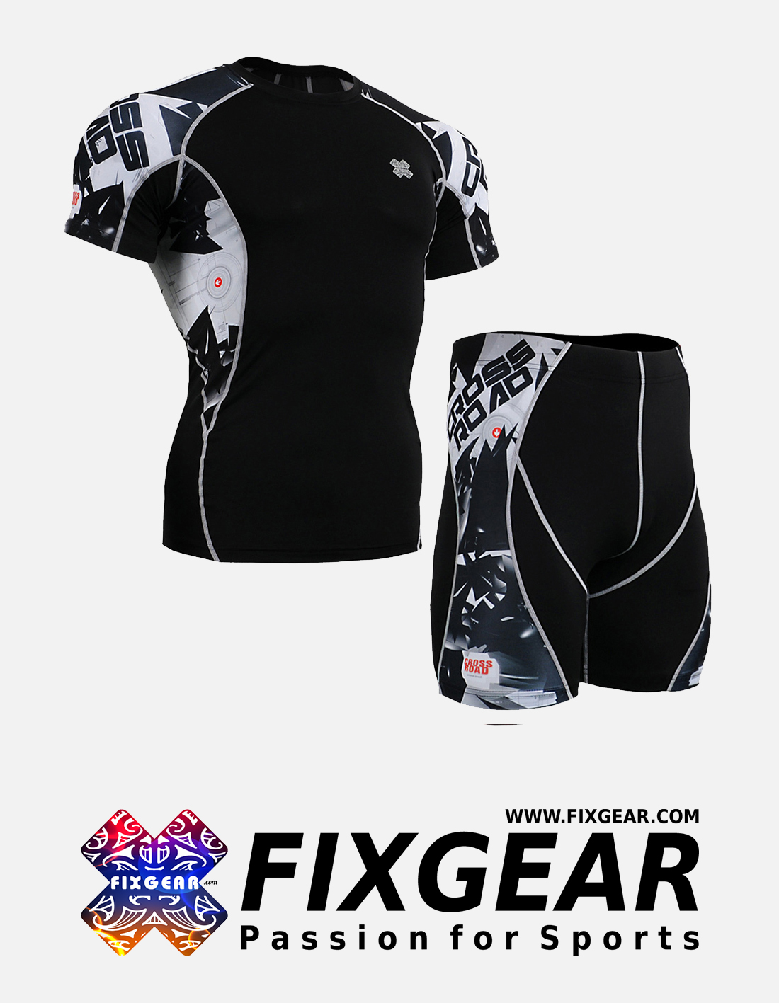 FIXGEAR C2S-P2S-B17 Set Compression Base Layer Shirt & Compression Drawer Shorts