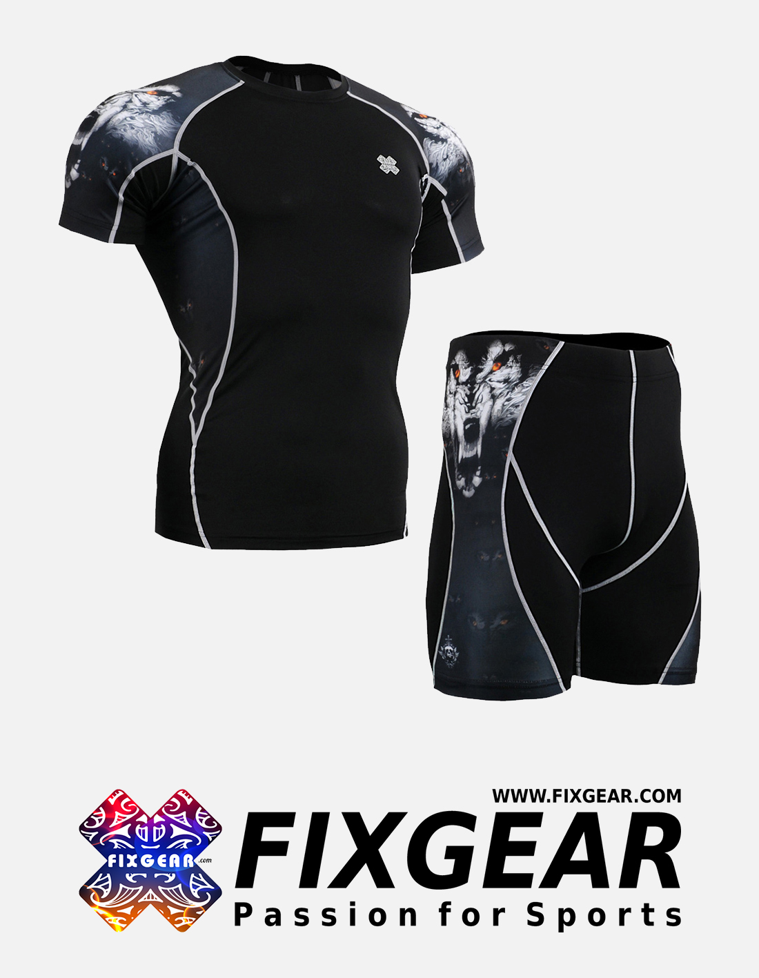 FIXGEAR C2S-P2S-B18 Set Compression Base Layer Shirt & Compression Drawer Shorts