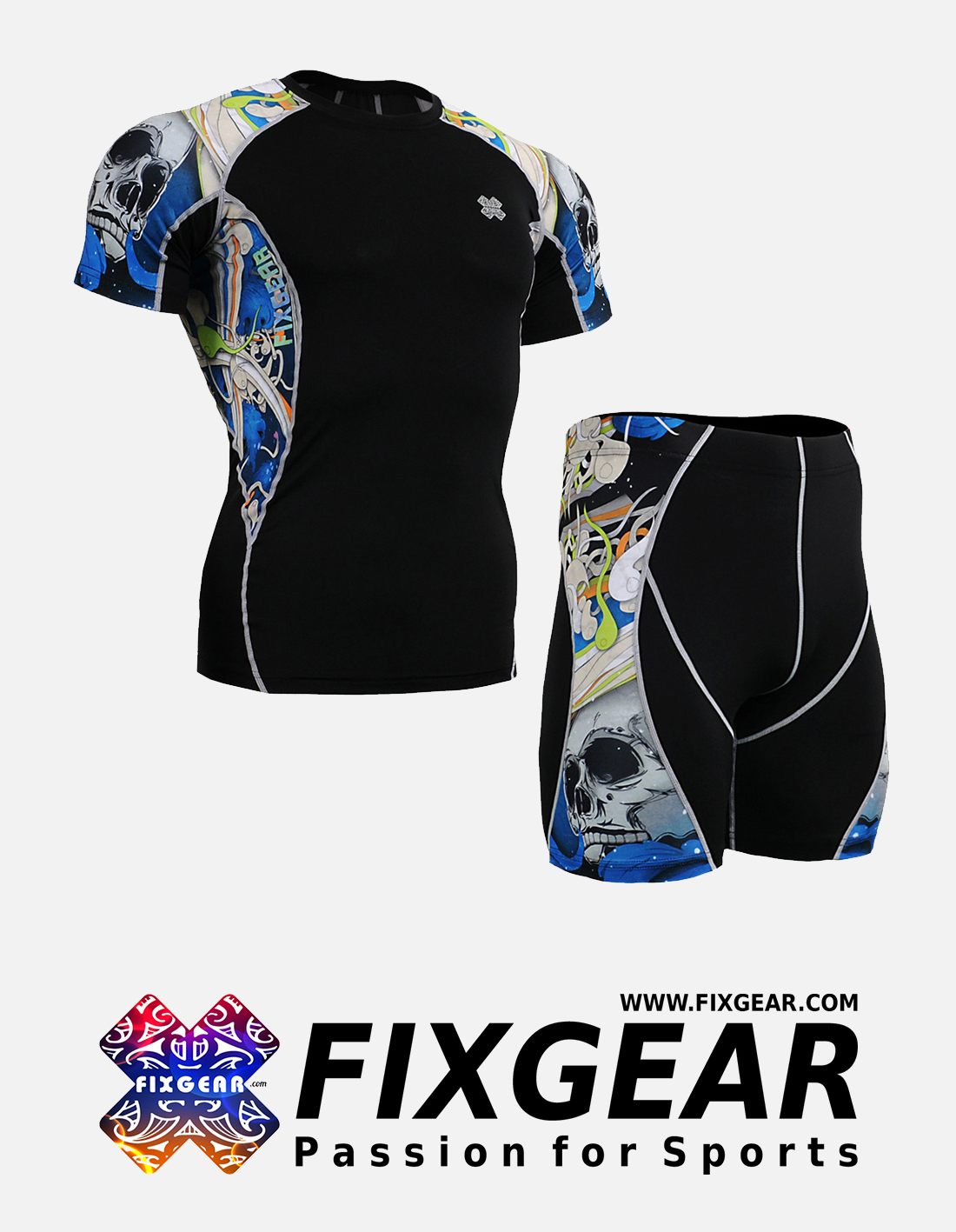 FIXGEAR C2S-P2S-B19B Set Compression Base Layer Shirt & Compression Drawer Shorts