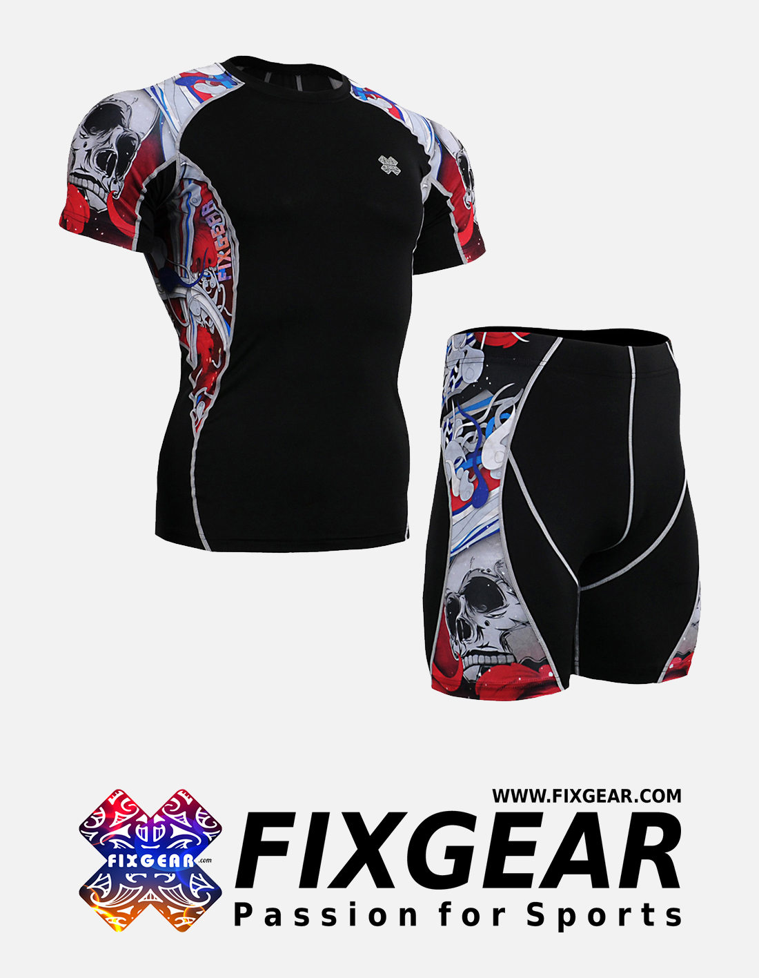 FIXGEAR C2S-P2S-B19R Set Compression Base Layer Shirt & Compression Drawer Shorts