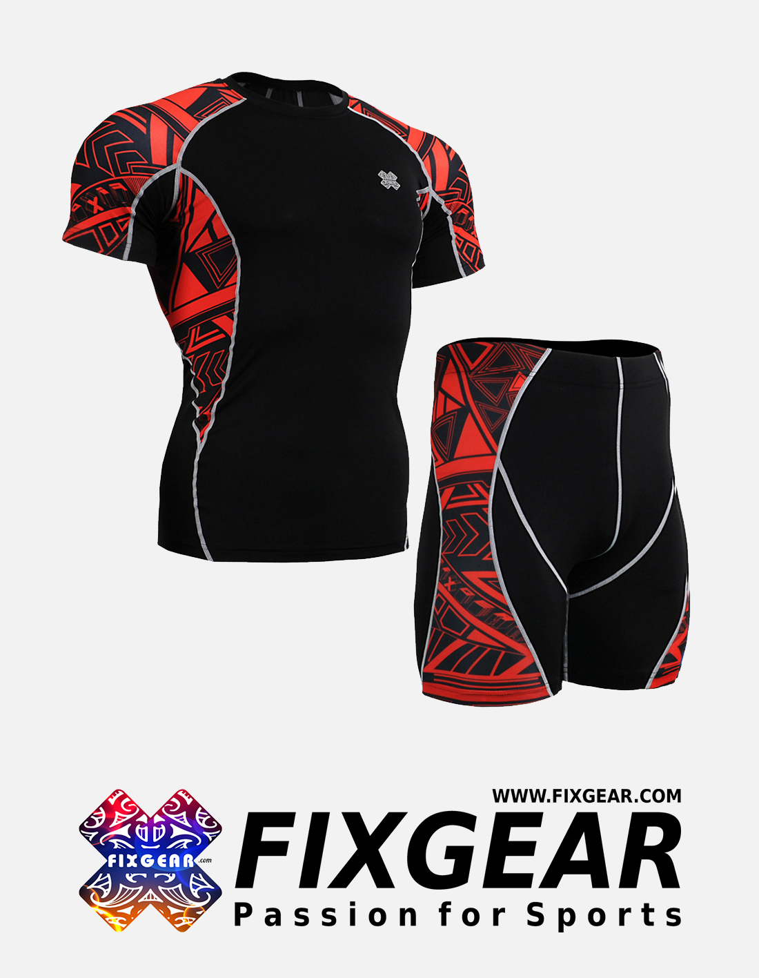 FIXGEAR C2S-P2S-B2 Set Compression Base Layer Shirt & Compression Drawer Shorts