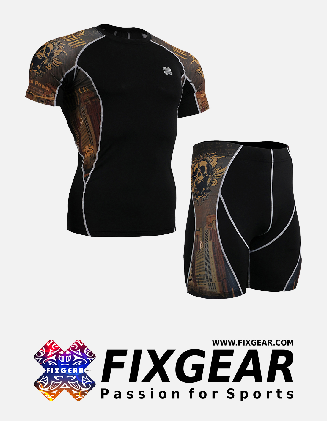 FIXGEAR C2S-P2S-B27 Set Compression Base Layer Shirt & Compression Drawer Shorts