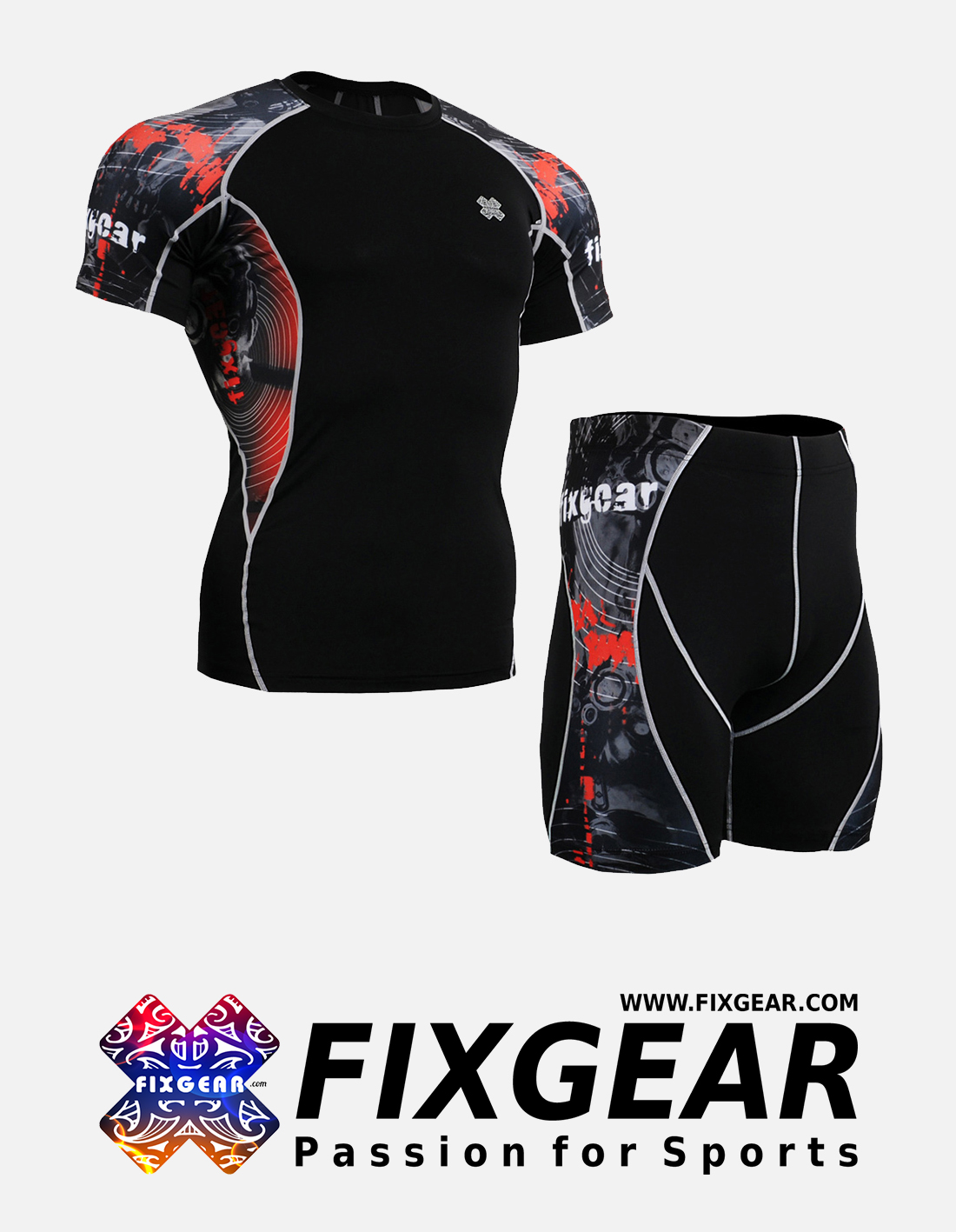 FIXGEAR C2S-P2S-B30 Set Compression Base Layer Shirt & Compression Drawer Shorts