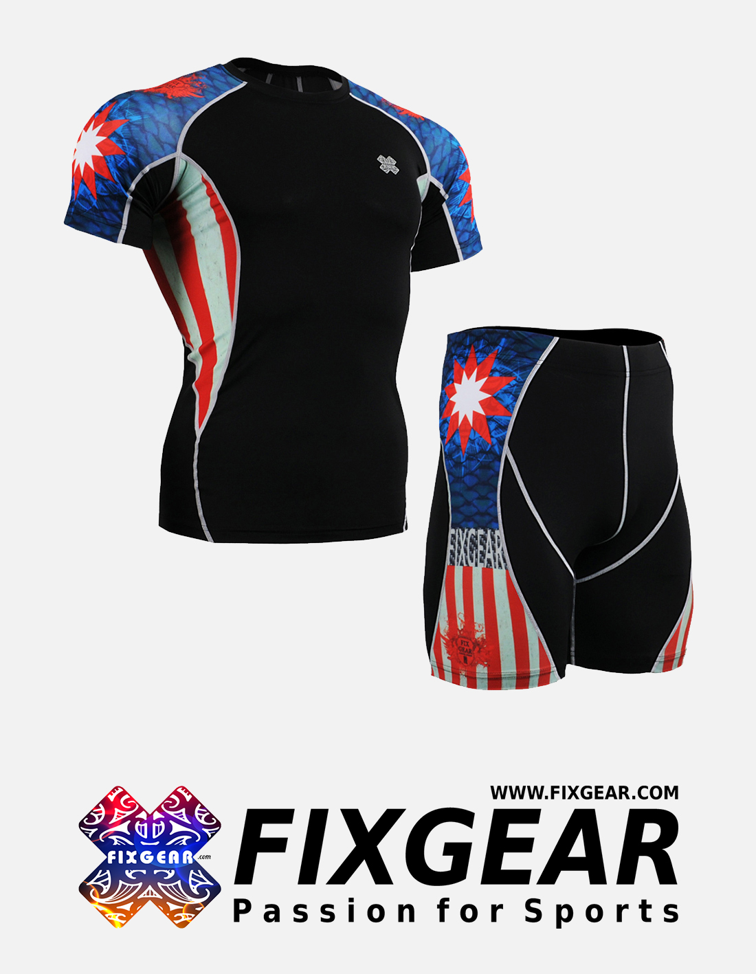 FIXGEAR C2S-P2S-B37 Set Compression Base Layer Shirt & Compression Drawer Shorts