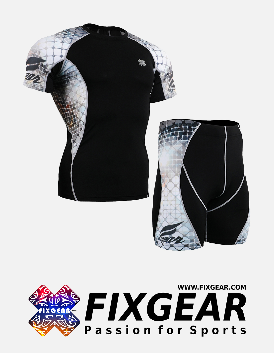 FIXGEAR C2S-P2S-B38 Set Compression Base Layer Shirt & Compression Drawer Shorts