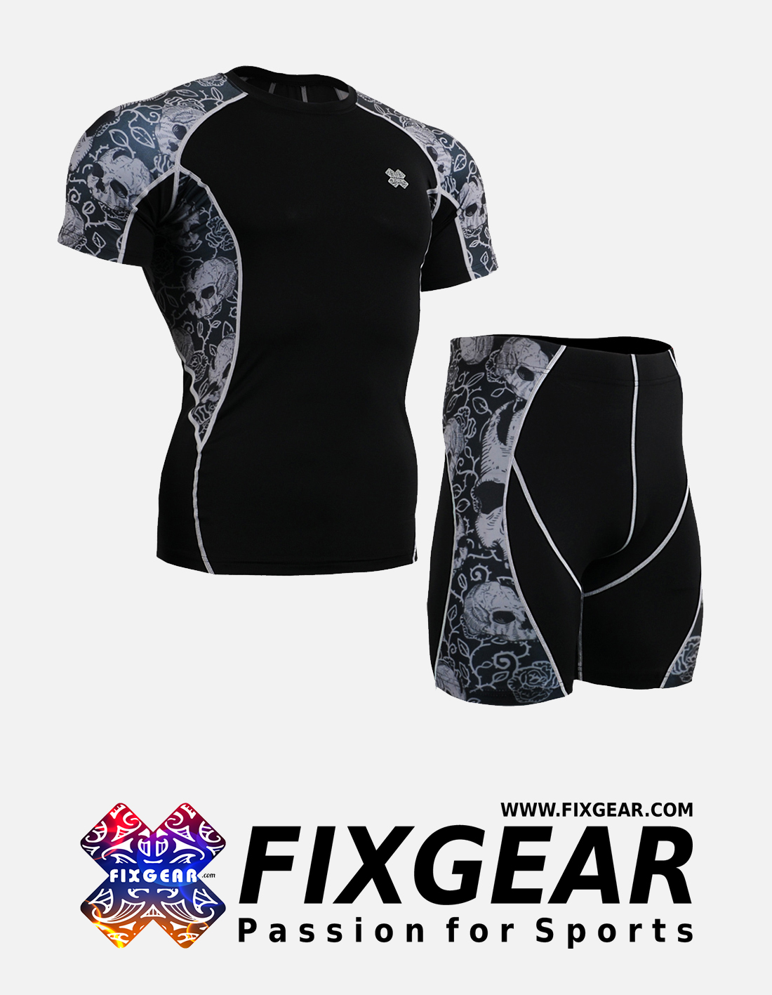 FIXGEAR C2S-P2S-B40 Set Compression Base Layer Shirt & Compression Drawer Shorts
