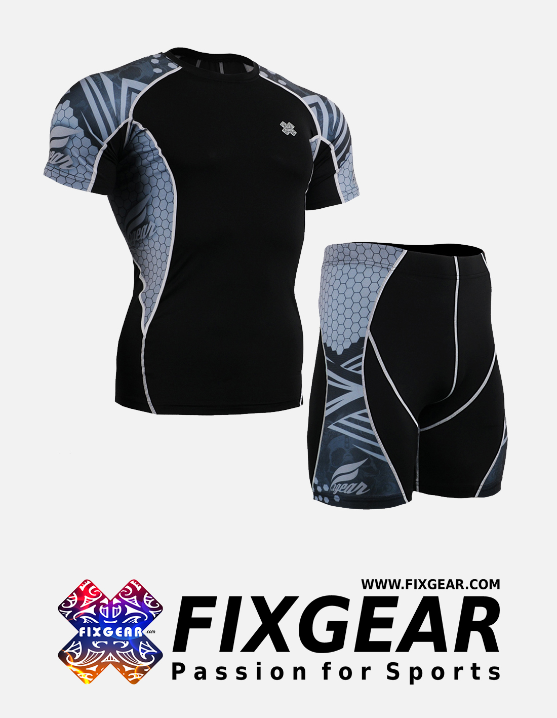 FIXGEAR C2S-P2S-B41 Set Compression Base Layer Shirt & Compression Drawer Shorts