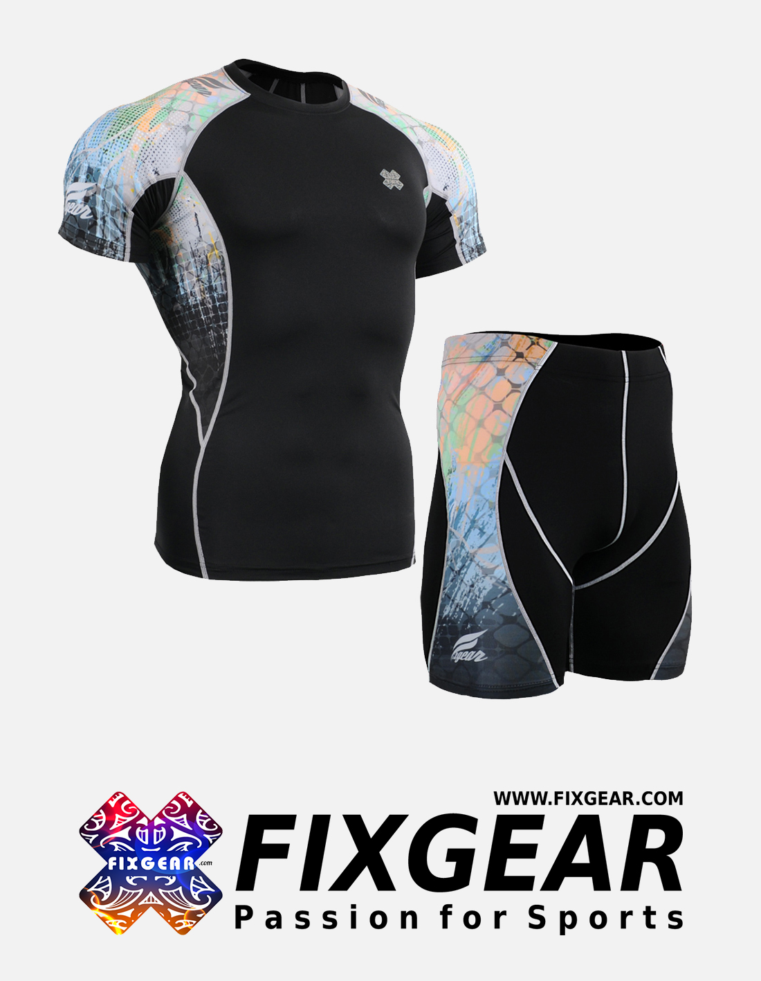 FIXGEAR C2S-P2S-B42 Set Compression Base Layer Shirt & Compression Drawer Shorts