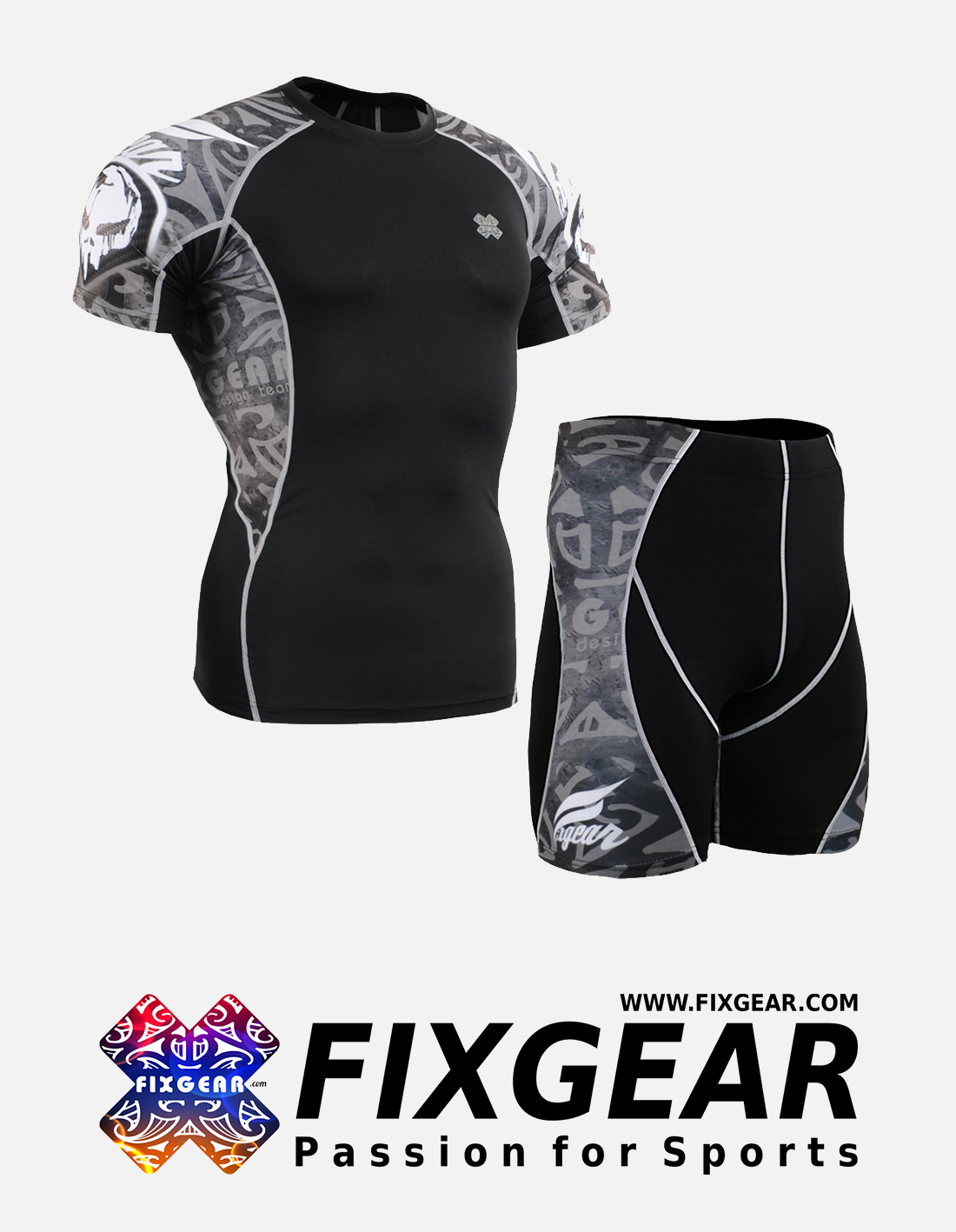 FIXGEAR C2S-P2S-B43 Set Compression Base Layer Shirt & Compression Drawer Shorts
