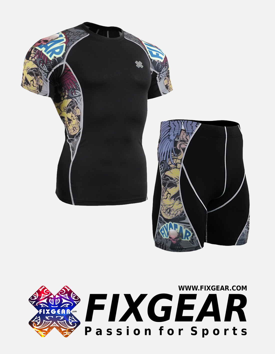 FIXGEAR C2S-P2S-B44 Set Compression Base Layer Shirt & Compression Drawer Shorts