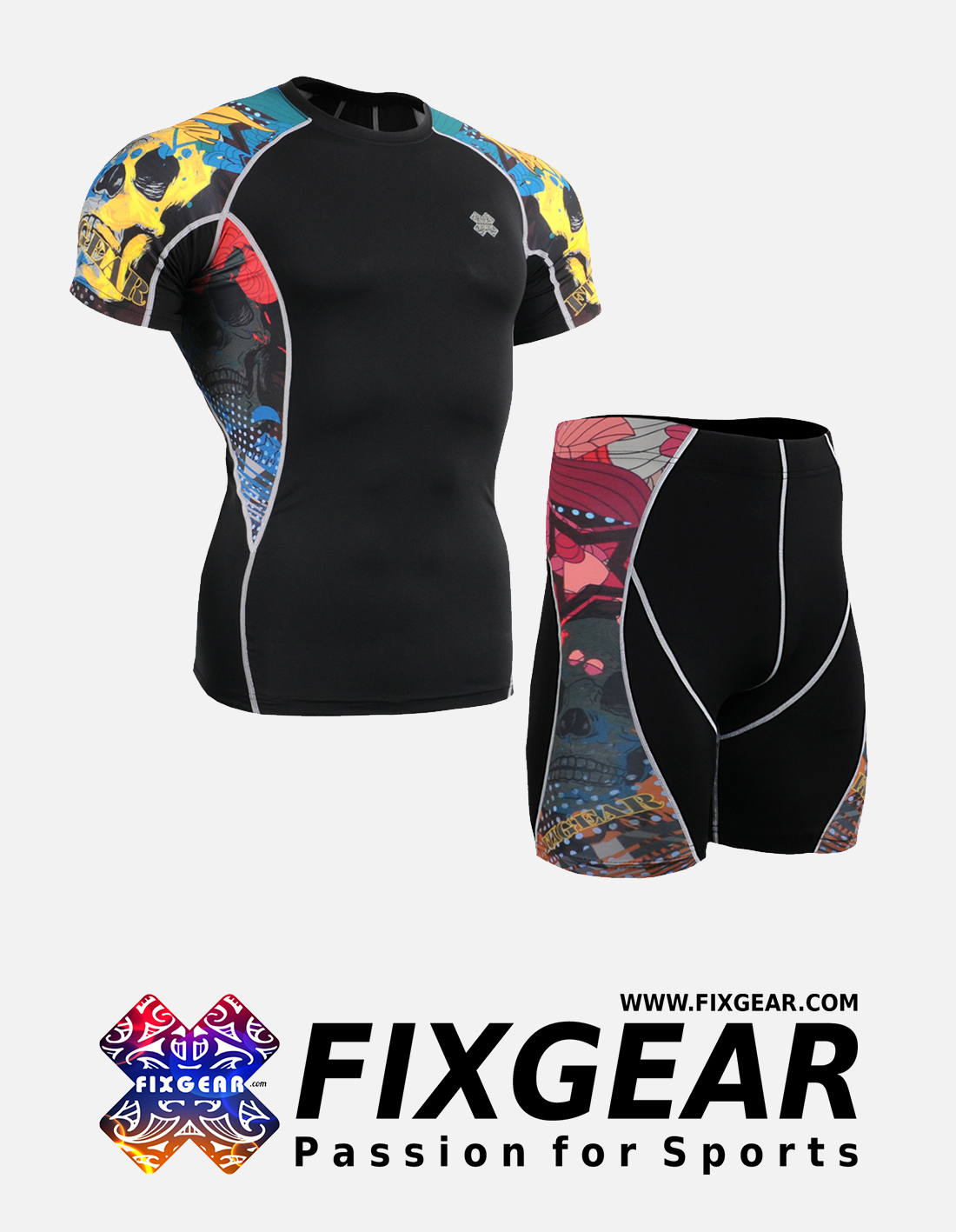 FIXGEAR C2S-P2S-B46 Set Compression Base Layer Shirt & Compression Drawer Shorts