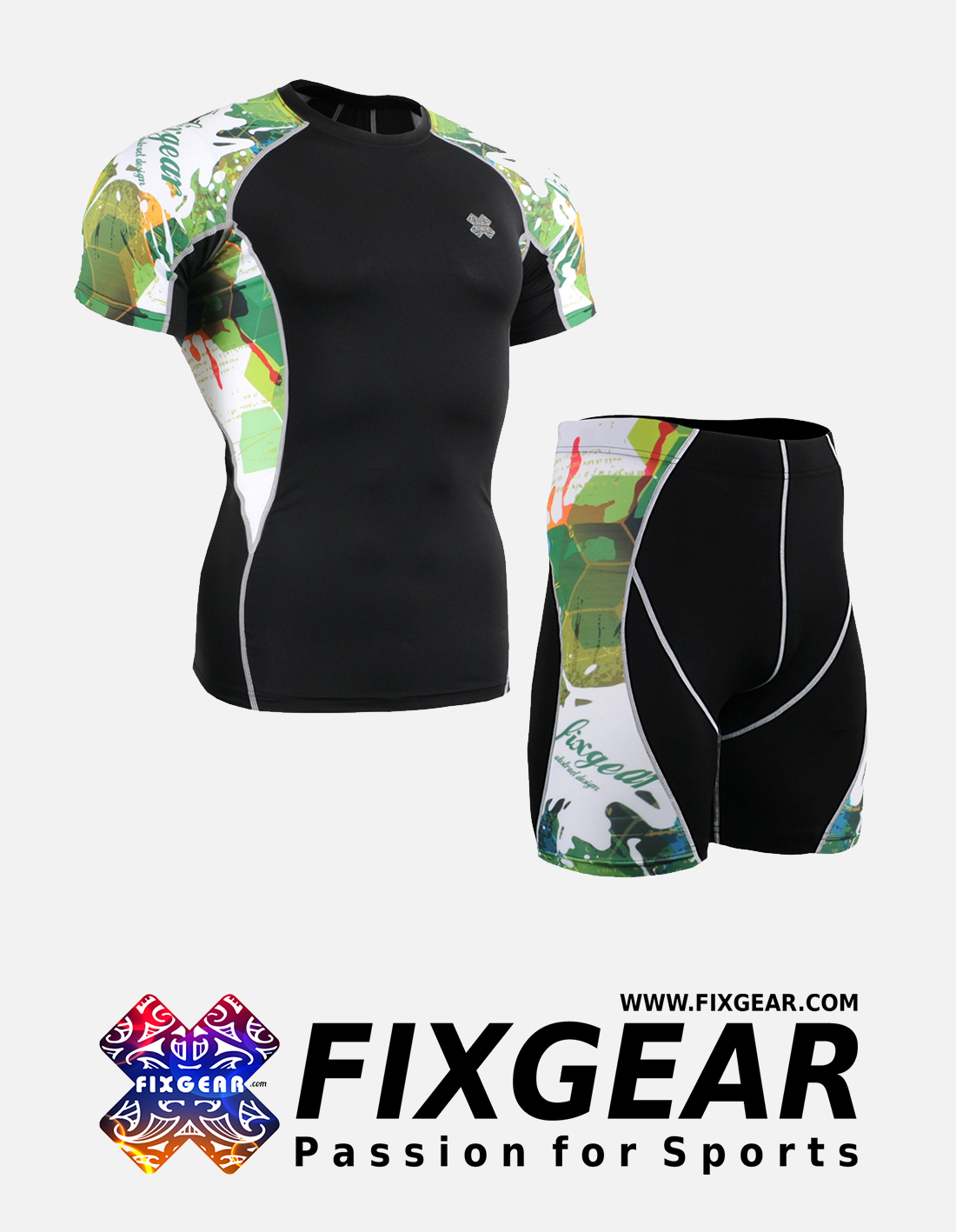 FIXGEAR C2S-P2S-B47 Set Compression Base Layer Shirt & Compression Drawer Shorts
