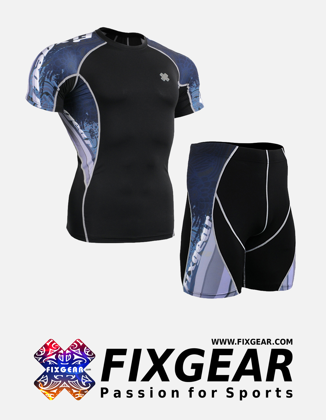 FIXGEAR C2S-P2S-B48 Set Compression Base Layer Shirt & Compression Drawer Shorts