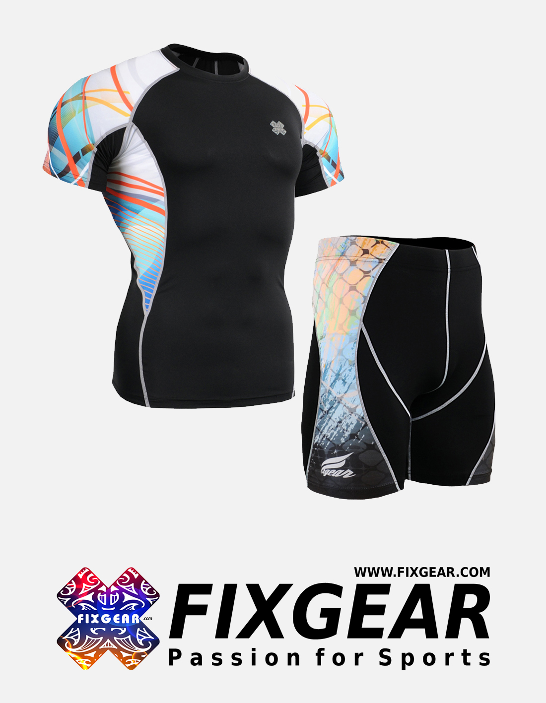 FIXGEAR C2S-P2S-B49 Set Compression Base Layer Shirt & Compression Drawer Shorts