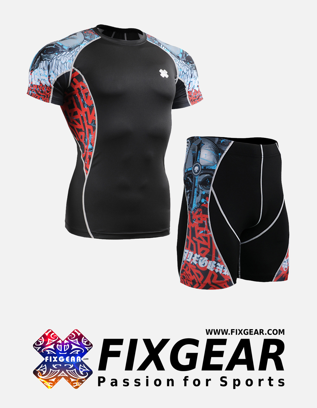 FIXGEAR C2S-P2S-B73 Set Compression Base Layer Shirt & Compression Drawer Shorts
