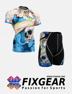 FIXGEAR CFS-P2S-B19B Set Compression Base Layer Shirt & Compression Drawer Shorts